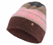 Strickmütze dunkelbeige / pink / bordeaux
