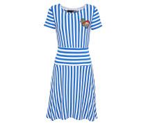 Kleid blau / weiß