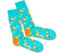 Socken 'Fresh Orange' türkis / gelb