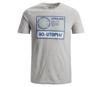 T-Shirt blau / graumeliert / weiß