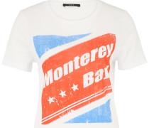 T-Shirt mit Retro-Print blau / rot / weiß