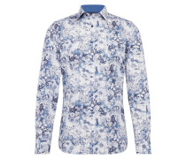 Hemd 'Level 5 City Print floral' blau / weiß