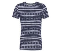T-Shirt ultramarinblau / perlweiß