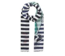 Schal blau / mischfarben / weiß