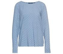 Gepunktete Bluse rauchblau / weiß