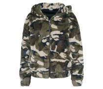 Jacket 'Teddy' beige / braun / grün