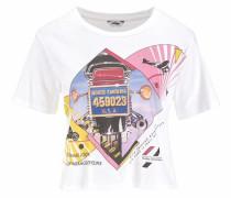 T-Shirt 'crop Tee' mischfarben / weiß