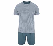 Pyjama kurz Shorty taubenblau / grau