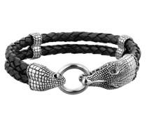 Armband 'Krokodil' schwarz / silber