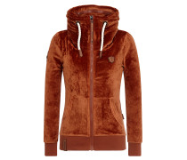 Sweatjacke braun / orange