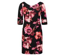 Blumenkleid pink / hellrot / schwarz
