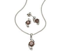 Halskette und Ohrstecker mit Kristallen (Set 4-tlg.)