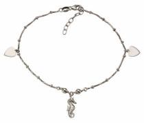 Fußkette »Seepferdchen/Herz« silber