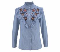 Rüschenbluse himmelblau / mischfarben / weiß