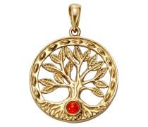 Anhänger 'Lebensbaum' gold / rot