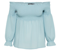 Off-Shoulder Bluse 'shirred Bardot' blau