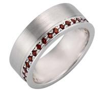 Ring mit Granat rubinrot / silber