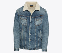 Jacke 'Lenny' beige / blue denim