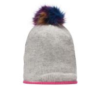 Beanie Mütze aus Wolle hellgrau / pink