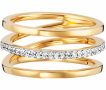 Fingerring 'fluid curves' gold