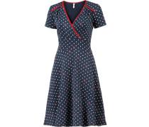 Kleid nachtblau / rot / weiß