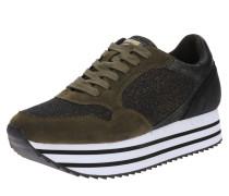 Plateau-Sneaker 'ocean' dunkelbraun / khaki