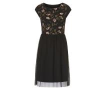 Kleid khaki / rotviolett / schwarz / weiß