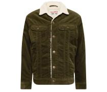 Jeansjacke 'sherpa Jacket' dunkelgrün / weiß