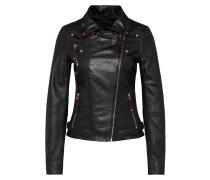 Lederjacke schwarz / silber