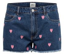 Jeansshorts blue denim / rosa