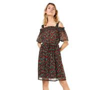 Kleid 'crinkle' grün / rot / schwarz