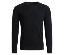 Pullover 'slim' rot / schwarz / weiß