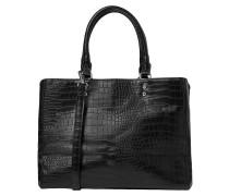 Handtasche in Kroko-Optik schwarz