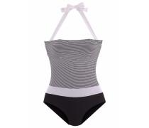 Bandeau-Badeanzug grau / schwarz / weiß