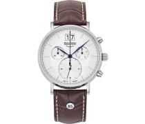 Uhr rostbraun / silber / weiß