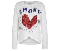 Strickpullover Amore blau / rot / offwhite