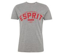 T-Shirt 'N cn aw ss' graumeliert / rot