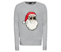 Pullover graumeliert / rot / weiß