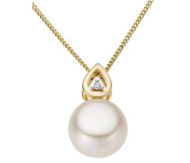 Perlenanhänger gold / perlweiß