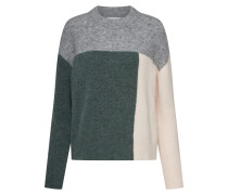 Pullover beige / grau / dunkelgrün
