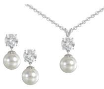 Ohrstecker und Halskette mit Perle und Zirkonia (4tlg.)