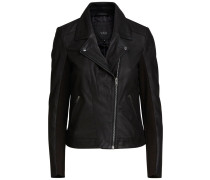 Leder-Biker-Jacke schwarz