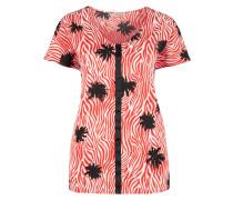 V-Neck-Blusenshirt rot / schwarz / weiß