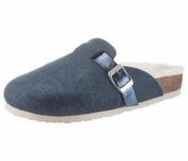 Pantoffel taubenblau / braun / weiß