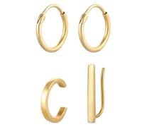 Ohrringe + Earcuff gold
