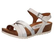 Sandaletten braun / silber / weiß