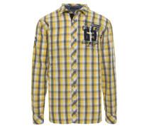 Hemd taubenblau / gelb / weiß