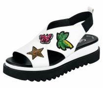 Sandalette mit Applikationen schwarz / weiß