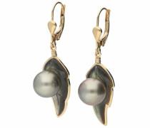 Paar Ohrhänger gold / dunkelgrau