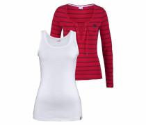 Longsleeve rot / schwarz / weiß
